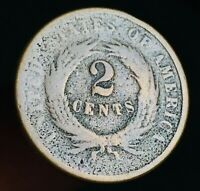 1865 US Two Cent Piece 2C Ungraded Civil War VG Worn Date US Copper Coin CC2759