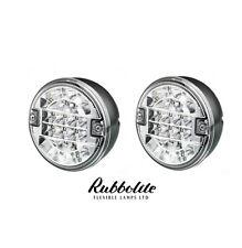 2 X 12/24V VOLT LED REAR ROUND HAMBURGER REVERSE LAMP LIGHT LORRY/TRUCK/TRAILER