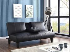 Black Faux Leather Sofa Bed Cupholder Sofabed Padded Adjustable Arms