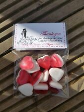 Personalised Table Wedding Favour thanks for sharing our special day heart sweet