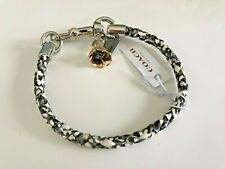 Coach Charms Snakeskin Friendship Bracelet w/ Dogleash Clip ~ Snake White/Silver