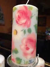 Cath Kidston Margherite & rose decorato a mano pilastro candela 36hr 15x6cm