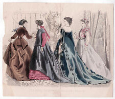 Victorian Color Fashion Plate Peterson's Magazine May 1867 Evening Gowns/Coats