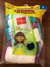 Hanes Girls' Tagless Briefs, 12 Pack, Size 4
