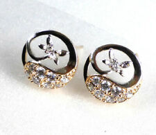 Women Moon and Star12mm New Studs Earrings Simulated Diamond 18K Gold Plated UK