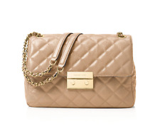 MICHAEL MICHAEL KORS SLOAN BISQUE QUILTED LEATHER EXTRA LARGE CHAIN SHOULDER BAG