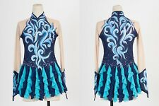 Ice Skating Dress Girls Custom Figure Skating Clother Women Competition Blue AS