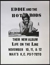 Eddie And The Hot Rods At Max'S Kansas City 1977 Punk Concert Poster