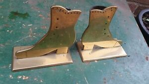 Nice Pair of Heavy Old Antique Brass Boot Apprentice Piece Spill Vases
