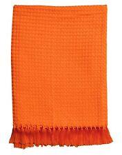 Orange Waffle Weave Throw Rug Blanket 100% Cotton 127x 152 cm