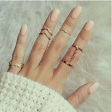 1 Set 6pcs Fashion leaf MIDI Mid Finger Rings GOLD impilamento Catena Gioielli di partito
