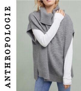 Anthro MOTH Sleeveless Turtleneck Poncho sleeveless oversized sweater Gray SZ S