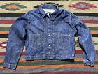 Vintage 50s Montgomery Ward Pleated Denim Chore Riveted Work Jacket Large