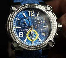 New Mens Renato Vulcan 46mm Blue Dial Swiss Chronograph Shark Skin Strap Watch