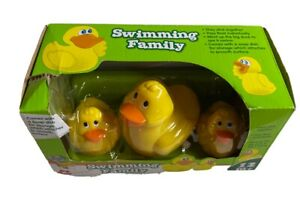 NAVYSTAR ~ SWIMMING DUCK FAMILY ~  BATH TOY W/SUCTION CUP STORAGE TRAY (NEW)