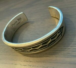 Darin Bill Navajo Sterling Stamped Collector's Cuff Bracelet - 106 GRAMS