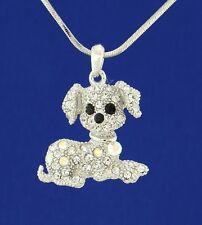 "Dog W Swarovski Crystal Clear AB Beagle Puppy Pet Pendant Necklace 18"" Chain"