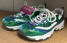 Skechers D Lites Memory Foam Green Blue Sequin Tennis Shoes Size 8 Women