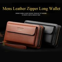 Mens Long Wallet Leather Zipper Bifold Purse Clutch Bag Phone Checkbook Handbag