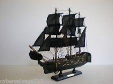 "Wooden Model Pirate Ship Boat Sailing Vessel 13"" Assembled On Stand Black Sails"