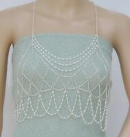 Women Sexy Party Jewelry Bikini Top Harness Pearl Bra Body Chest Chain Beach