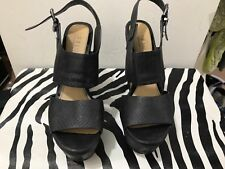 Office Ladies size 40 black wedged heel sandals