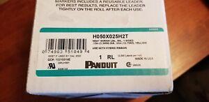 """Panduit H050X025H2T Heat Shrink Yellow Label .13 dia """"x.5""""L Qty 2000 per Roll"""