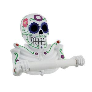 Zeckos Smelly Skelly White Day of the Dead Sugar Skull Toilet Tissue Holder