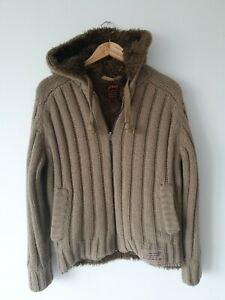 Schott Military Gear Knitted Hooded Fleeced Jacket Size Small