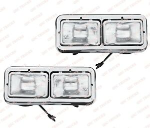 QSC Chrome Headlight Assembly Left Right Set for Kenworth T400 Peterbilt 378 379