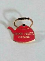 Vintage Terre Haute Indiana Tea Kettle Souvenir Lapel Pin ~ Ships FREE