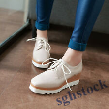 2019 Womens Patent Leather Wedge Heels Lace Up Creeper Oxfords Platform Shoes US