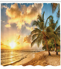 "Tropical Shower Curtain Exotic Sandy Beach Print for Bathroom 84"" Extralong"