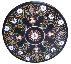 """36"""" Precious Floral Inlay Black Marble Round Dining Top Table Outdoor Decor B644"""