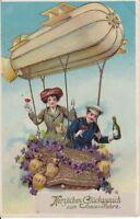 uralte AK, Herzlichen Glückwunsch zum neuen Jahre, Zeppelinfahrer, Serie 8507