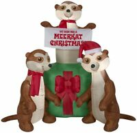 CHRISTMAS 5 Ft  MEERKAT FAMILY GIFTS  Airblown Inflatable YARD DECORATION GEMMY