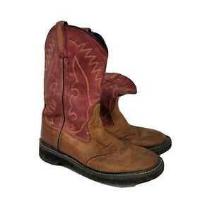 Womens Brown Red Leather Round Toe Mid Calf Pull on Cowboy Western Boots