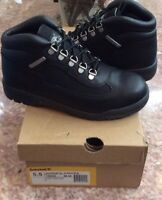 New Timberland Field Boots Juniors Boy's Black Leather Boots Size 5.5 #15906