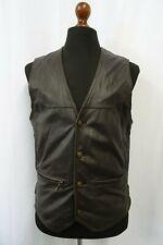 Men's Vintage Leather Biker Waistcoat Gilet Vest 38R