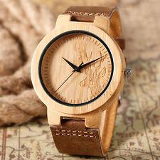 Handmade Wooden Quartz Wrist Watch Mens Creative Deer Hand Wood Dial Bamboo Gift