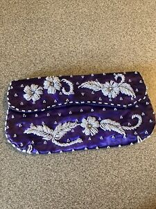 VTG HAND BEADED EVENING BAG By JOSEF. Purple In Color Snap Closure Preowned