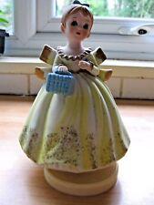 Bond Ware Japan Rare Antique Musical Rotating Child Figurine 1950's Dress & Bag