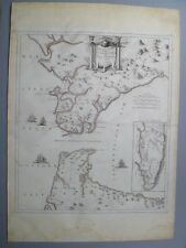 Rare Antique SANTINI Map Strait of Gibraltar Cadiz Spain 1780