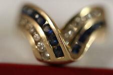 EFFY BH  HEAVY WIDE 14K YELLOW GOLD 2CT SAPPHIRE DIAMOND RING 14KT SZ 7.5 7.10G