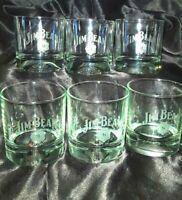 Jim Beam Whiskey Bar On The Rocks Glass Set of FIVE (5) Football & Golf Theme