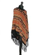 Poncho péruvien laine (franges, motifs géométriques, personnages) ORIGINE PEROU