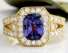 3.30 Carats NATURAL TANZANITE and DIAMOND 14K Solid Yellow Gold Ring