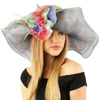 """Summer Kentucky Derby Side Flip 7"""" Brim Layer Floppy Flower Feathers Hat"""
