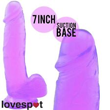 NEW Purple Dildo/Dong Penis w/Adult Toy 7 Inch/Balls Suction Realistic Sex
