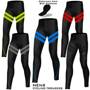 Mens Cycling Padded Tights Trousers Bicycle Compression Pant ANTI-BAC Pads
